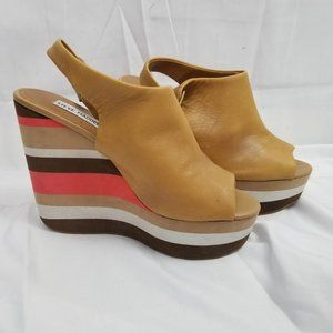 Steve Madden Striped Leather Wedge Peep Toe Shoes